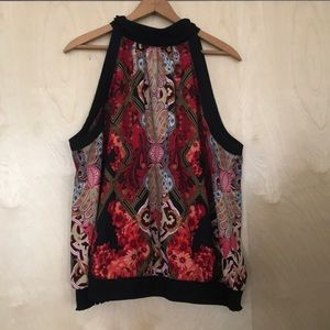 Red and Gold Print High Neckline Top XL